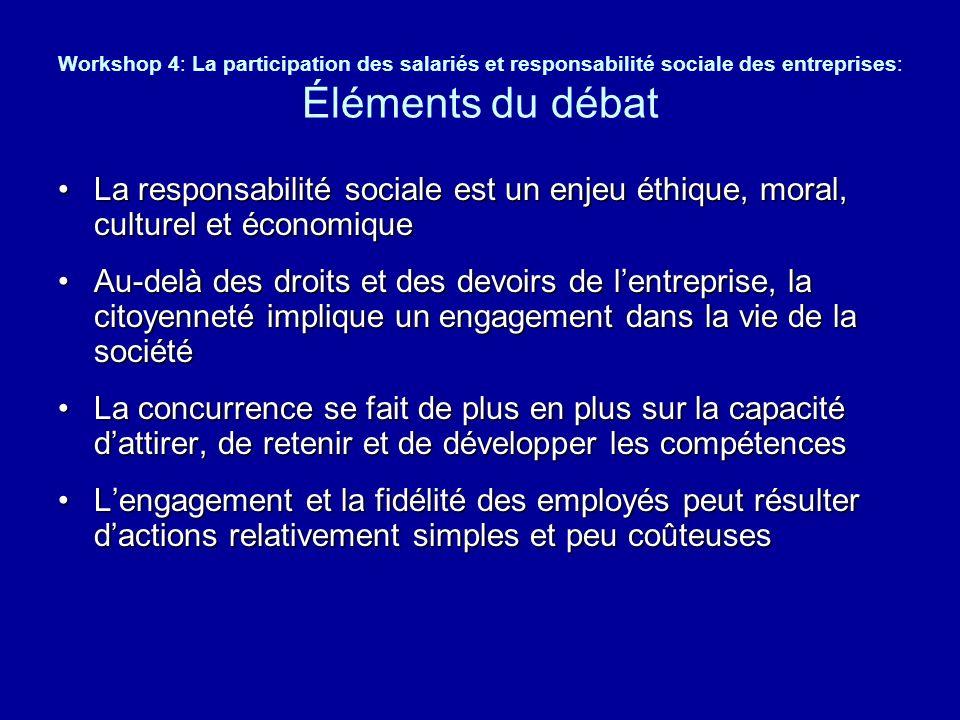 Workshop 4: La participation des salariés et responsabilité sociale des entreprises: Éléments du débat