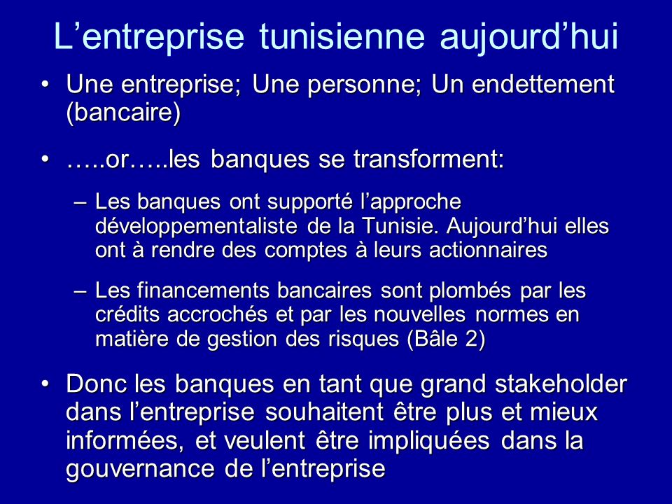 L'entreprise tunisienne aujourd'hui