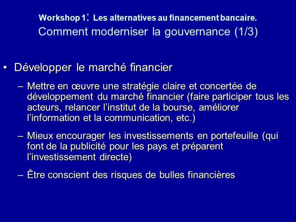 Développer le marché financier