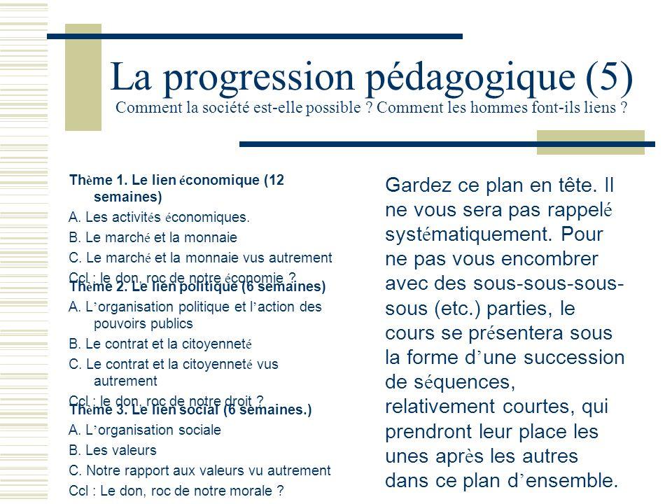 La progression pédagogique (5) Comment la société est-elle possible