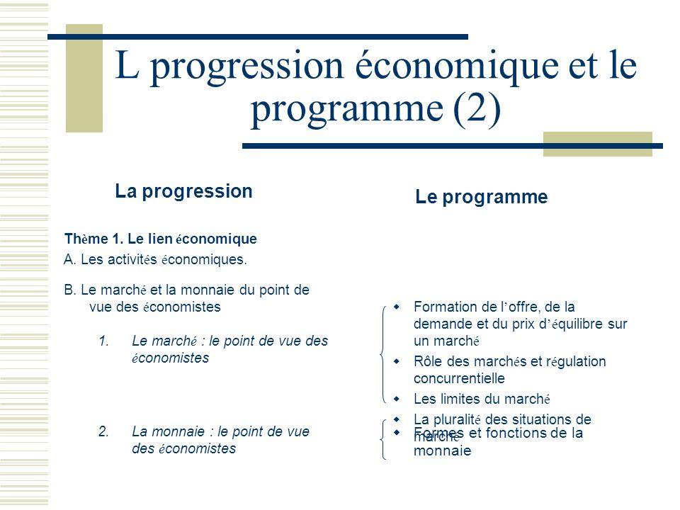 L progression économique et le programme (2)