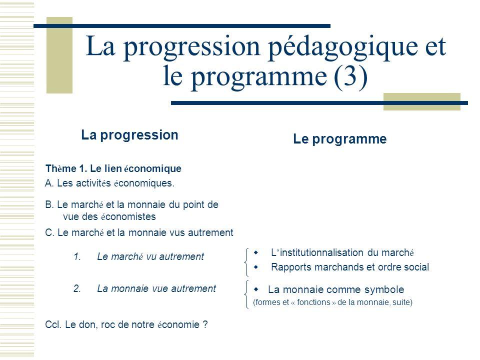La progression pédagogique et le programme (3)