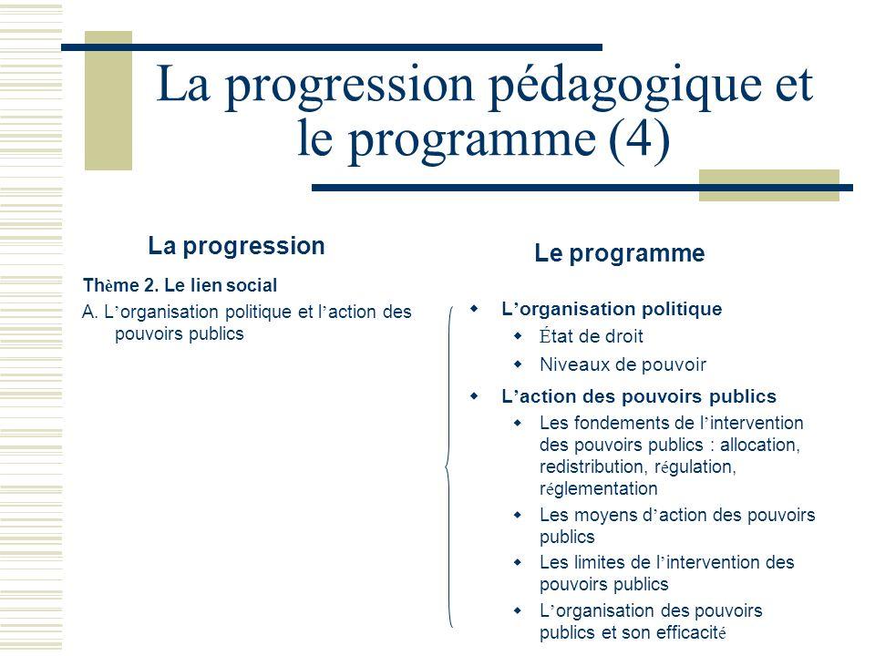 La progression pédagogique et le programme (4)