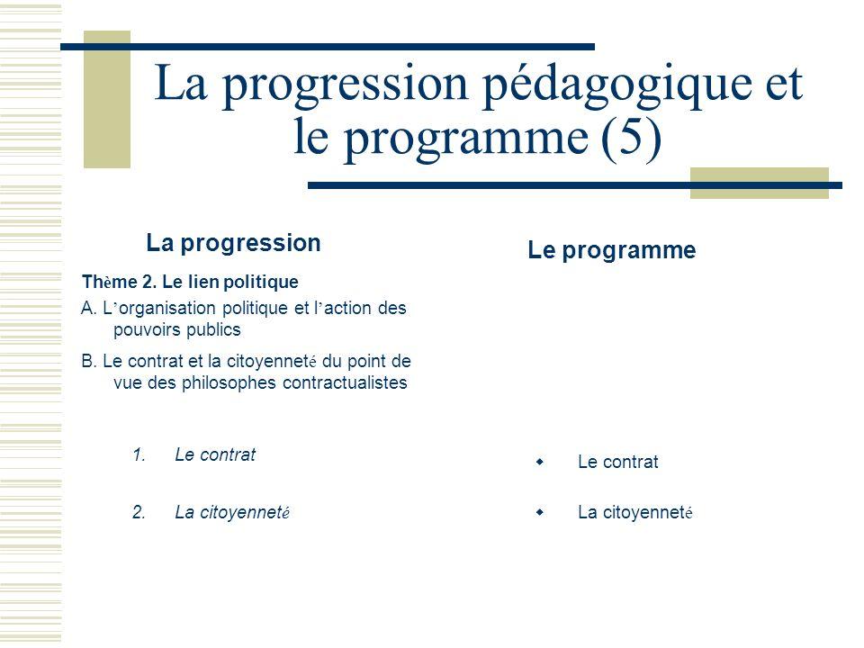 La progression pédagogique et le programme (5)