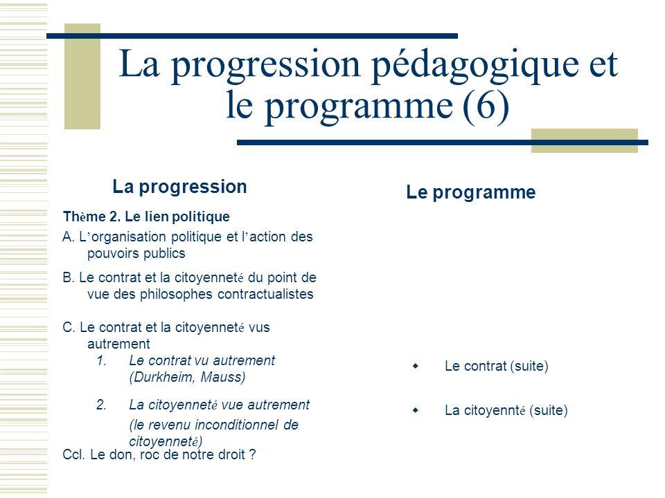 La progression pédagogique et le programme (6)