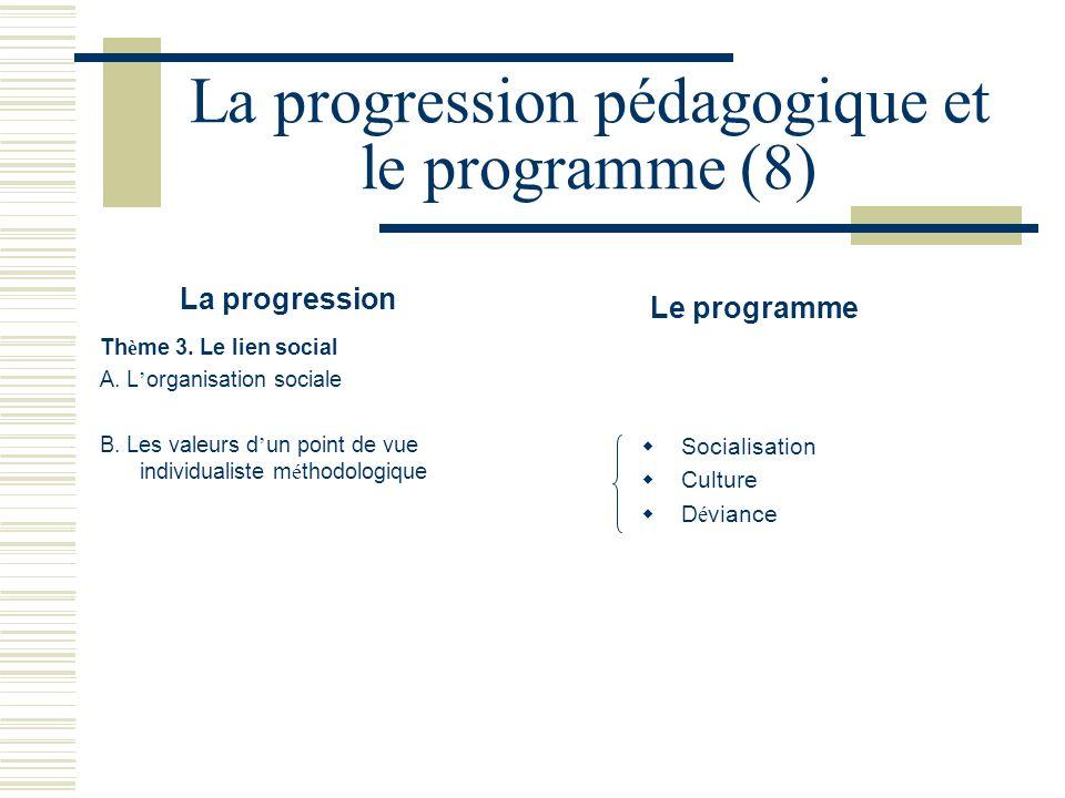 La progression pédagogique et le programme (8)