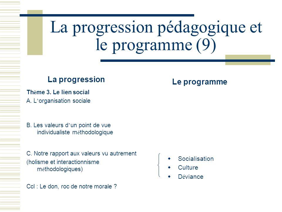 La progression pédagogique et le programme (9)