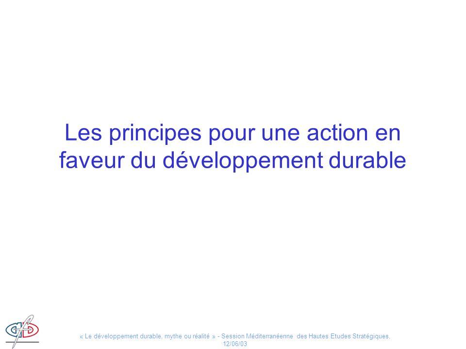Les principes pour une action en faveur du développement durable
