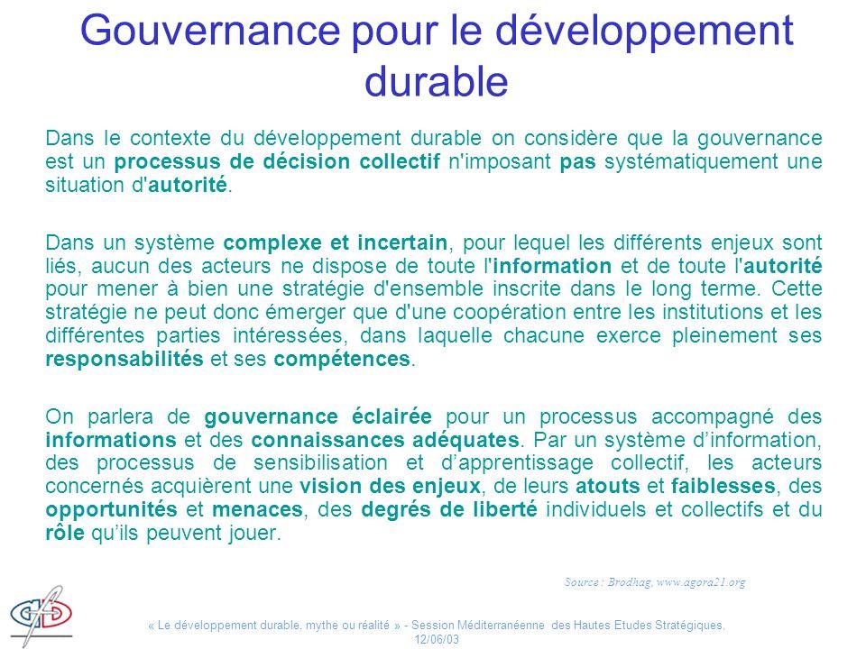 Gouvernance pour le développement durable