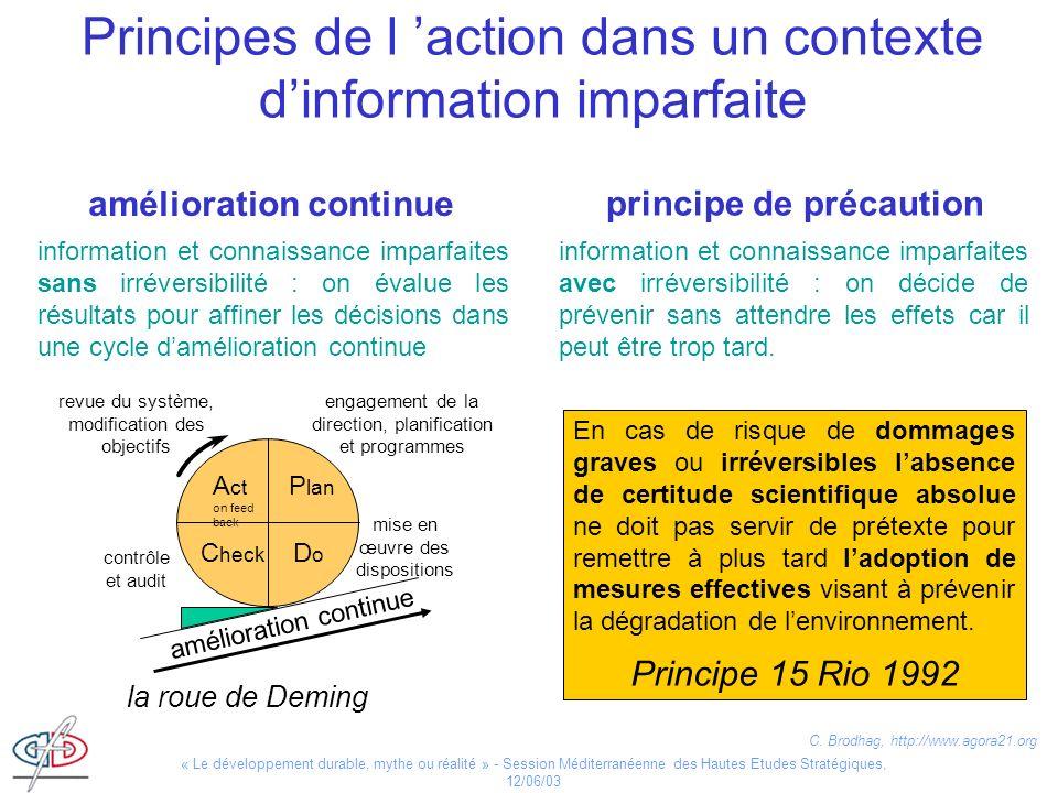 Principes de l 'action dans un contexte d'information imparfaite