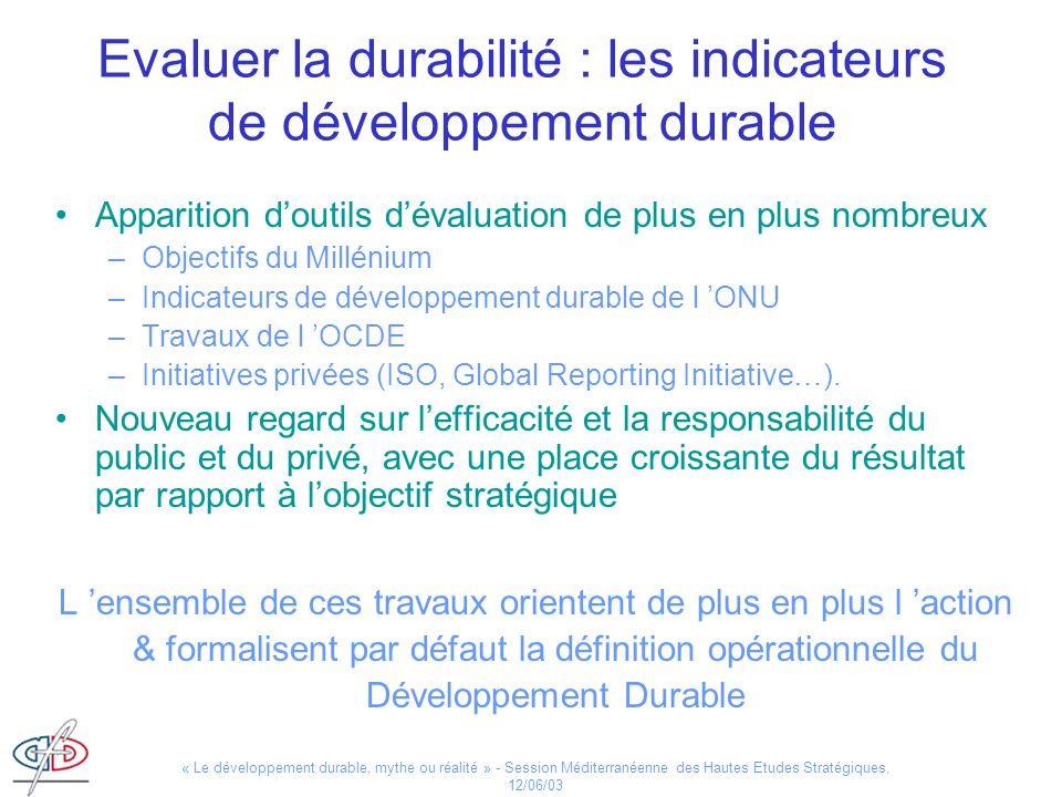 Evaluer la durabilité : les indicateurs de développement durable