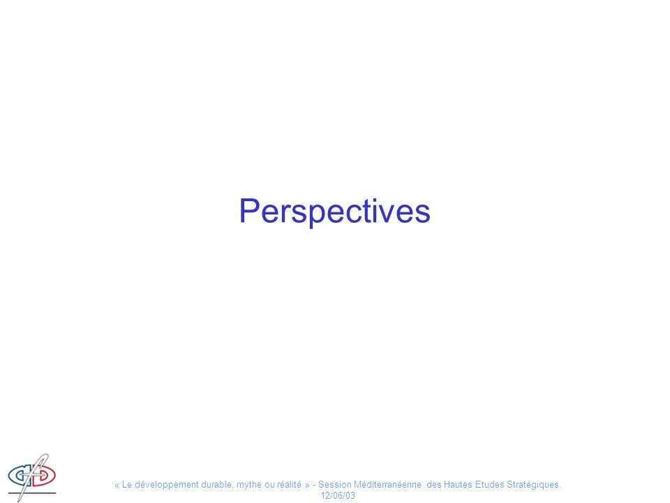 Perspectives « Le développement durable, mythe ou réalité » - Session Méditerranéenne des Hautes Etudes Stratégiques, 12/06/03.