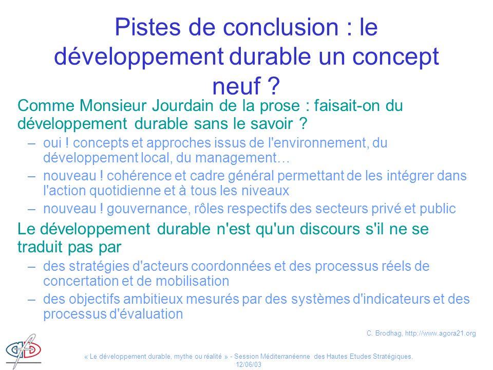 Pistes de conclusion : le développement durable un concept neuf