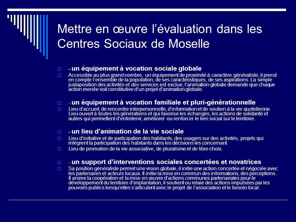 Mettre en œuvre l'évaluation dans les Centres Sociaux de Moselle