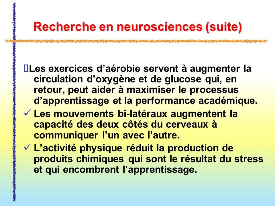 Recherche en neurosciences (suite)
