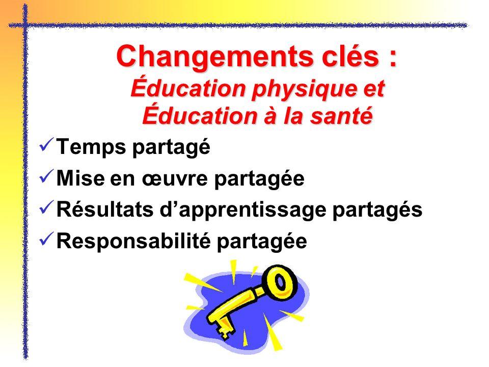 Changements clés : Éducation physique et Éducation à la santé