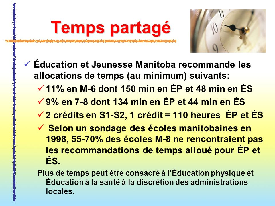 Temps partagéÉducation et Jeunesse Manitoba recommande les allocations de temps (au minimum) suivants: