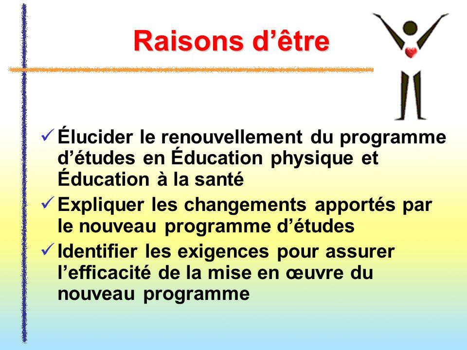 Raisons d'être Élucider le renouvellement du programme d'études en Éducation physique et Éducation à la santé.