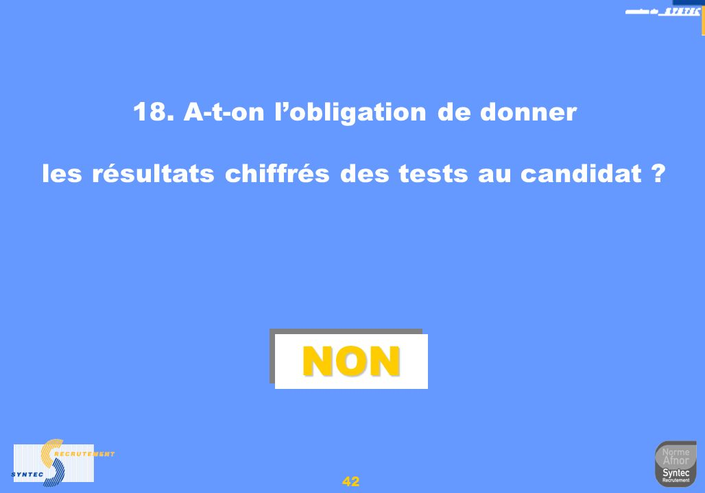 NON 18. A-t-on l'obligation de donner