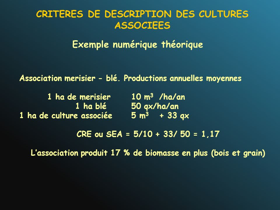 CRITERES DE DESCRIPTION DES CULTURES ASSOCIEES