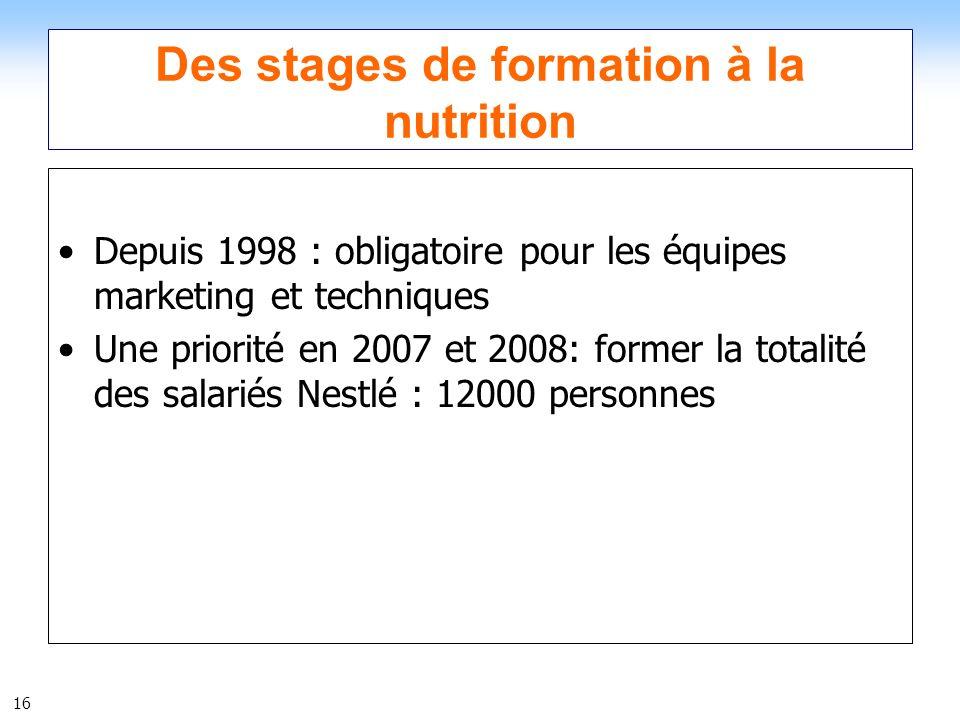 Des stages de formation à la nutrition