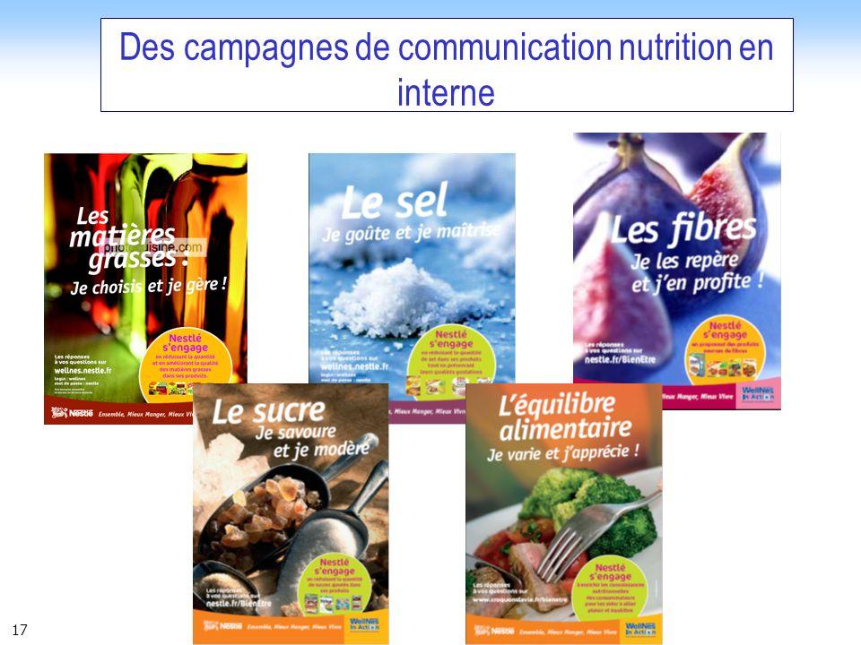 Des campagnes de communication nutrition en interne