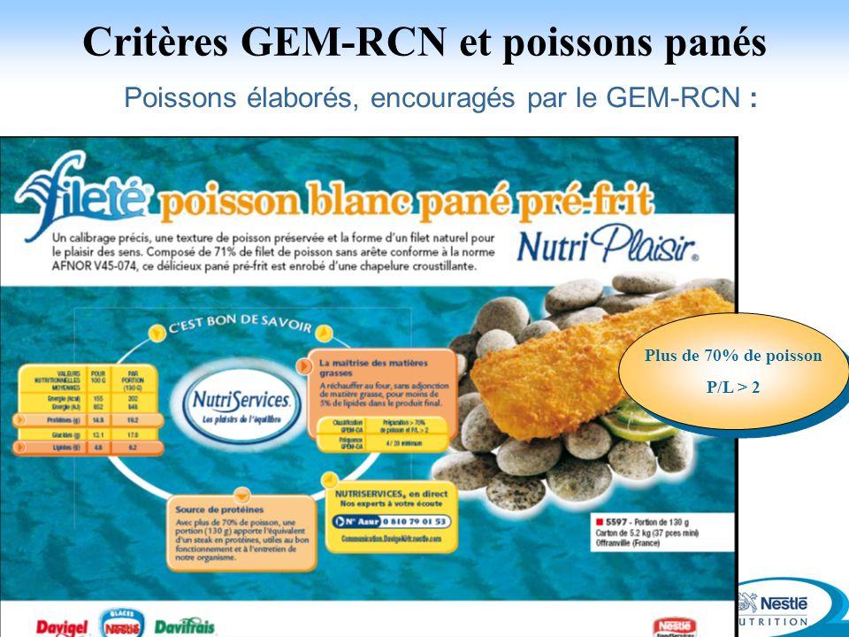 Critères GEM-RCN et poissons panés