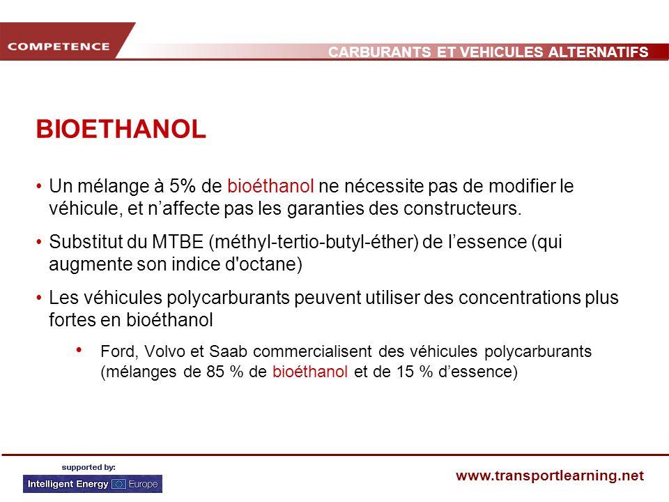 BIOETHANOL Un mélange à 5% de bioéthanol ne nécessite pas de modifier le véhicule, et n'affecte pas les garanties des constructeurs.