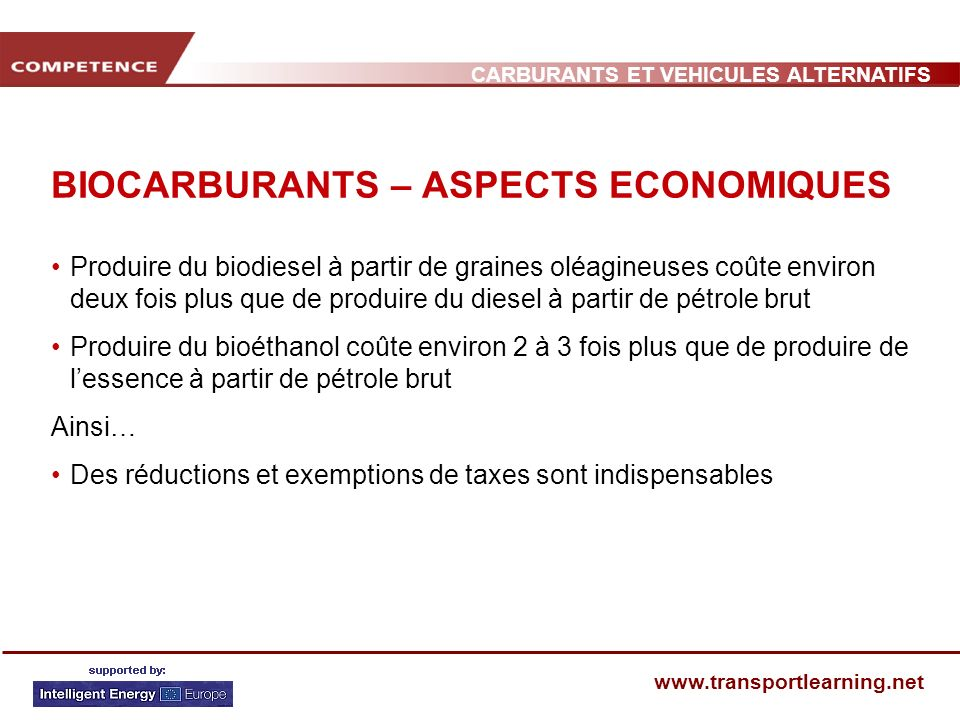 BIOCARBURANTS – ASPECTS ECONOMIQUES