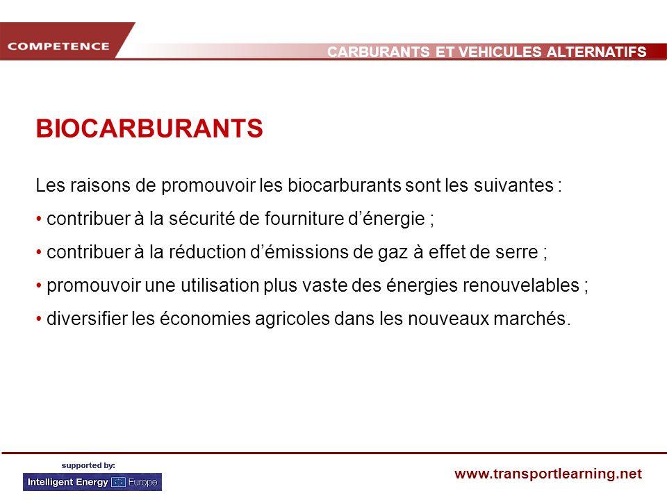 BIOCARBURANTS Les raisons de promouvoir les biocarburants sont les suivantes : contribuer à la sécurité de fourniture d'énergie ;
