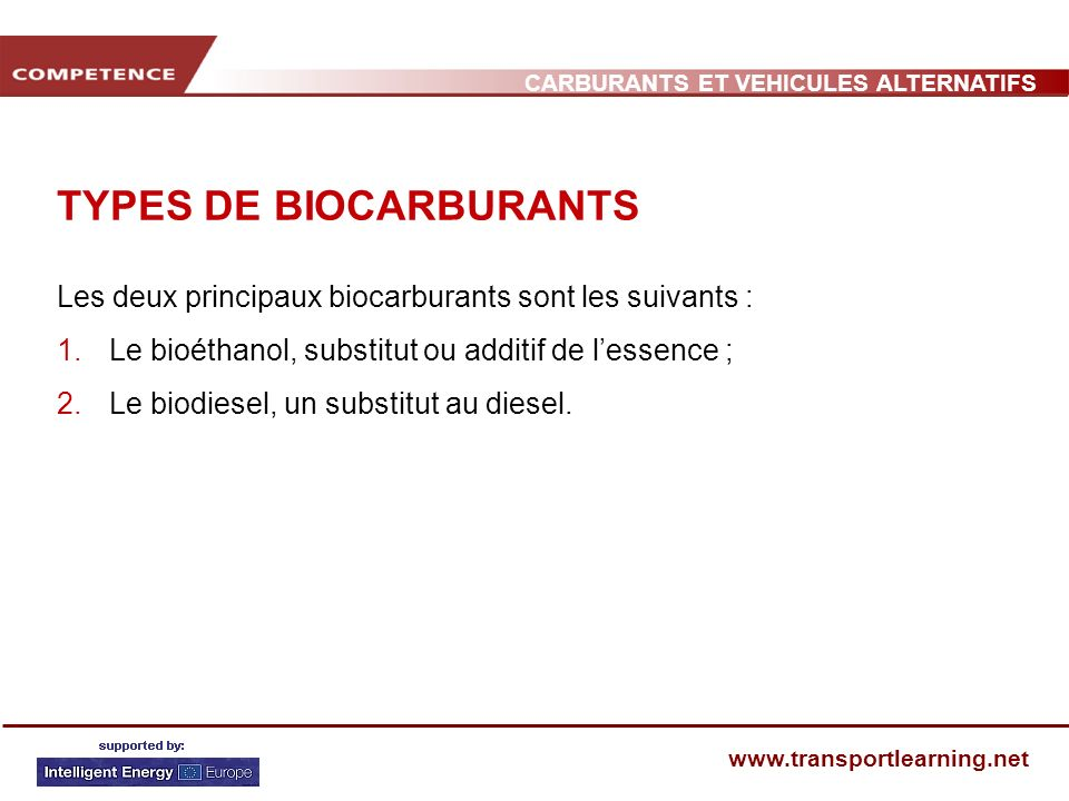TYPES DE BIOCARBURANTS