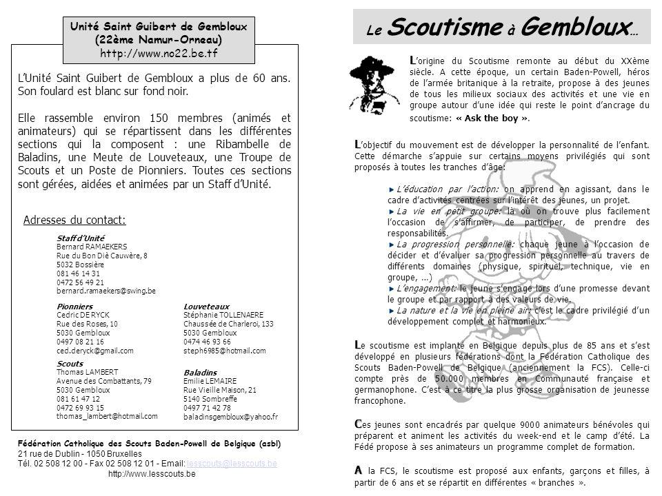 Le Scoutisme à Gembloux… Unité Saint Guibert de Gembloux