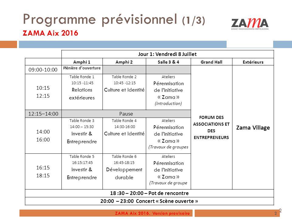 Programme prévisionnel (1/3) ZAMA Aix 2016