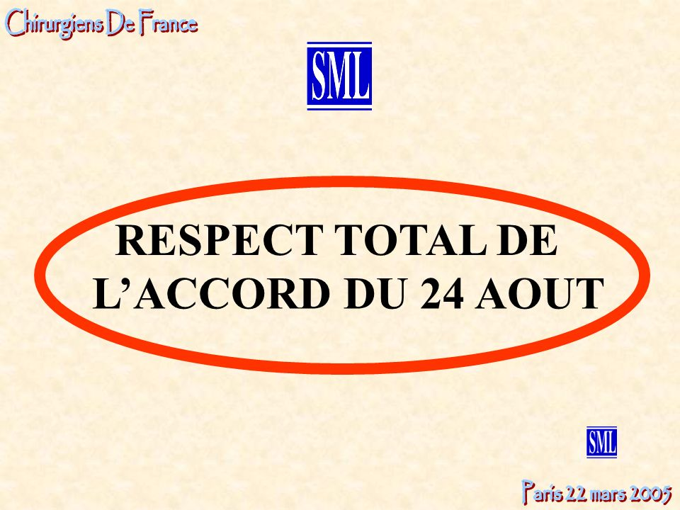 L'ACCORD DU 24 AOUT RESPECT TOTAL DE