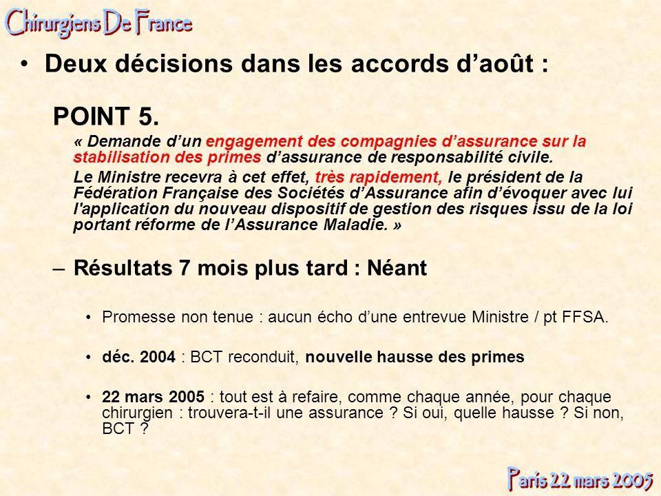 Deux décisions dans les accords d'août : POINT 5.