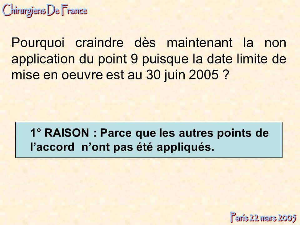 Pourquoi craindre dès maintenant la non application du point 9 puisque la date limite de mise en oeuvre est au 30 juin 2005