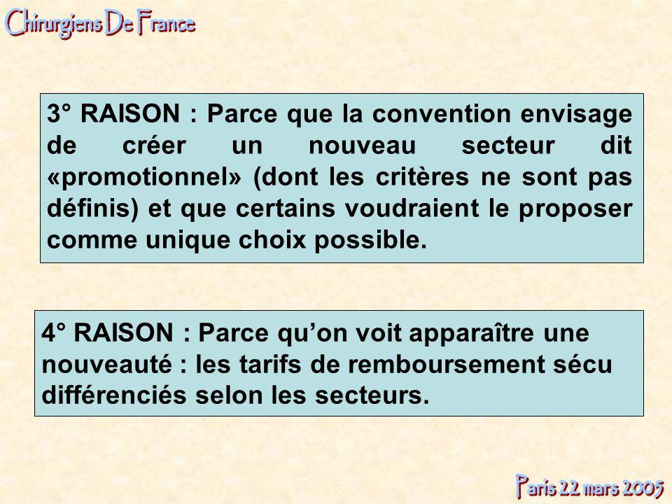 3° RAISON : Parce que la convention envisage de créer un nouveau secteur dit «promotionnel» (dont les critères ne sont pas définis) et que certains voudraient le proposer comme unique choix possible.