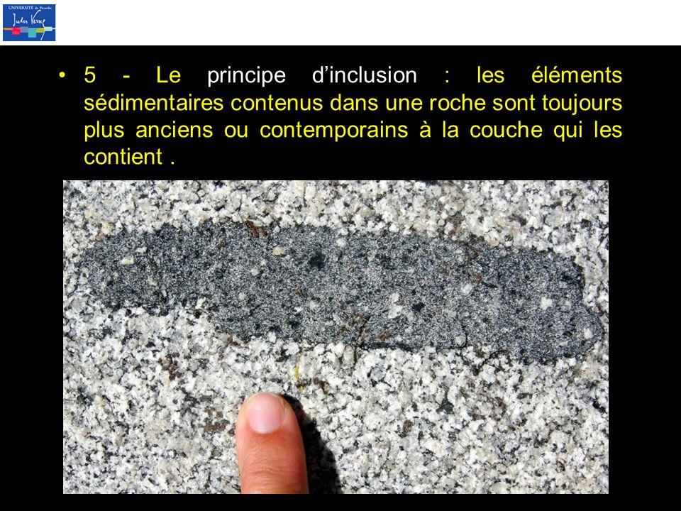 5 - Le principe d'inclusion : les éléments sédimentaires contenus dans une roche sont toujours plus anciens ou contemporains à la couche qui les contient .