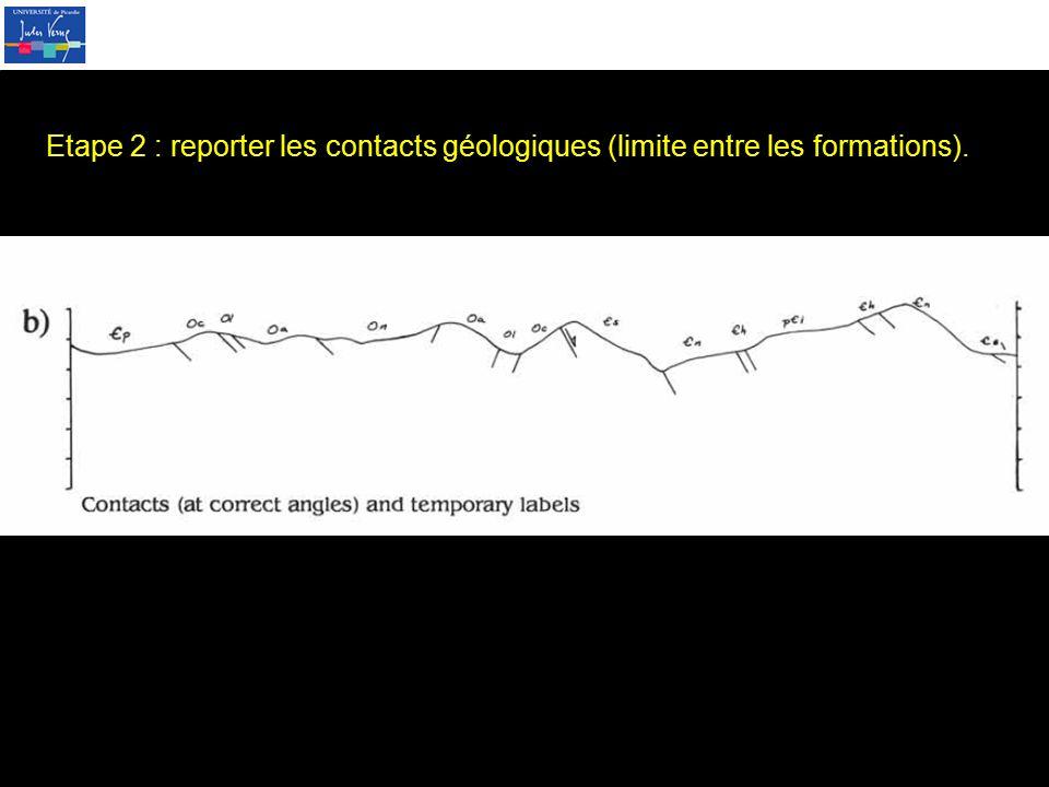 Etape 2 : reporter les contacts géologiques (limite entre les formations).