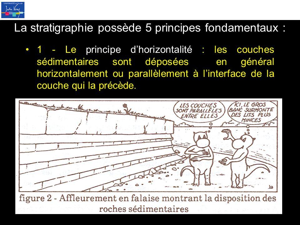 La stratigraphie possède 5 principes fondamentaux :