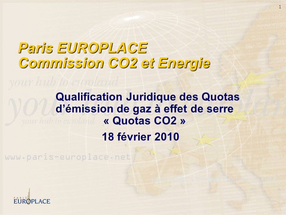 Paris EUROPLACE Commission CO2 et Energie