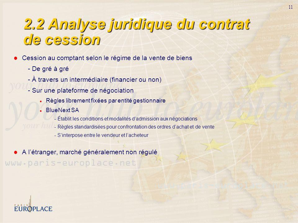 2.2 Analyse juridique du contrat de cession