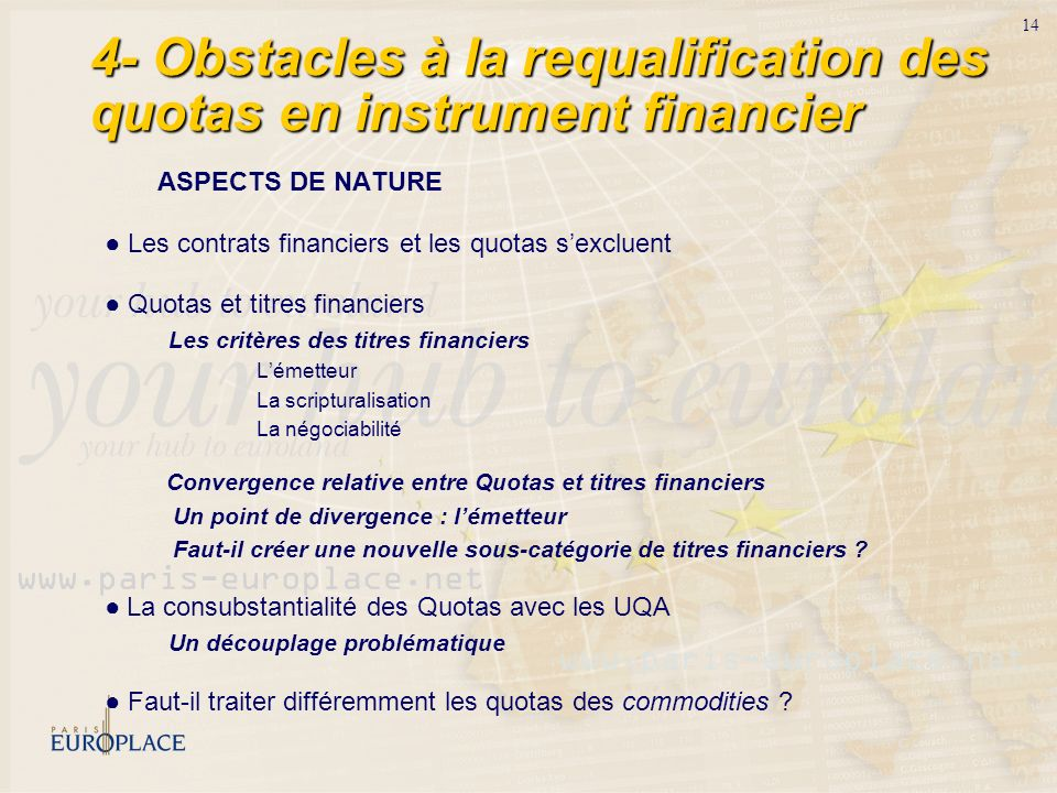 4- Obstacles à la requalification des quotas en instrument financier