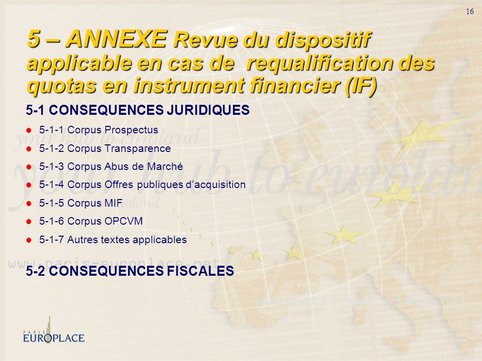 5 – ANNEXE Revue du dispositif applicable en cas de requalification des quotas en instrument financier (IF)