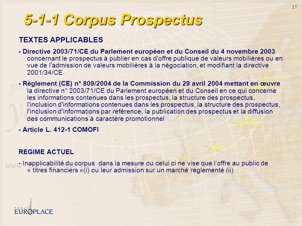 5-1-1 Corpus Prospectus TEXTES APPLICABLES