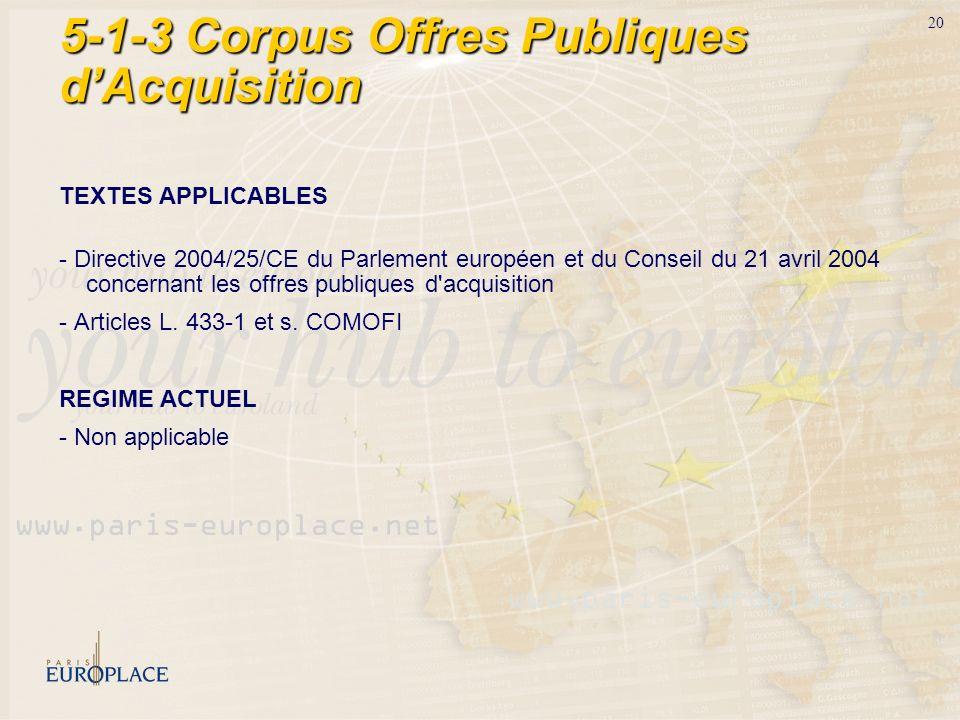5-1-3 Corpus Offres Publiques d'Acquisition