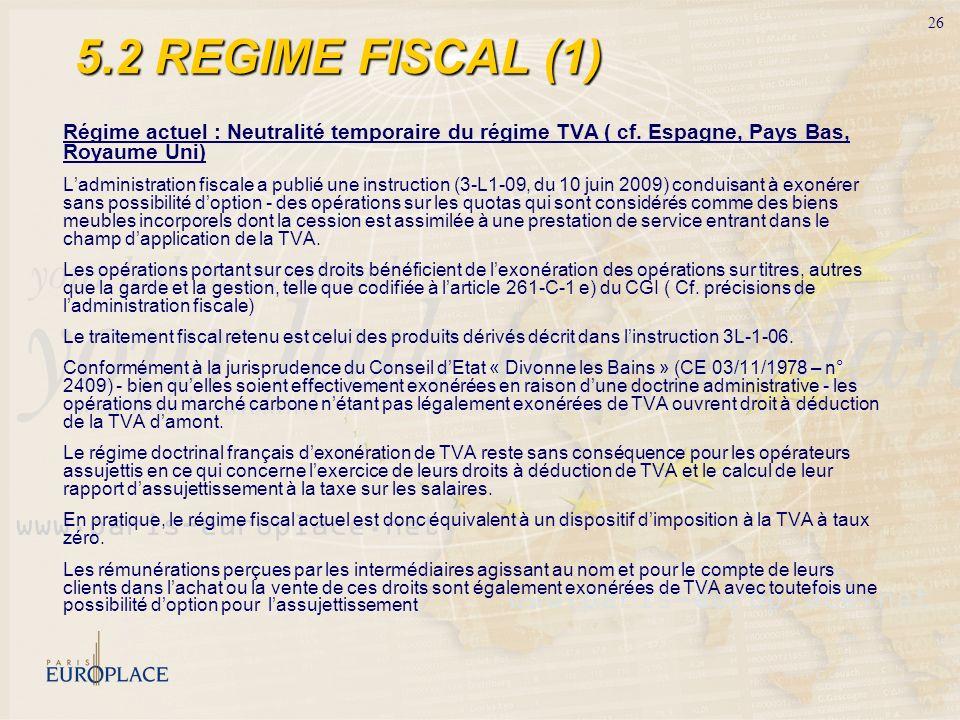 5.2 REGIME FISCAL (1)Régime actuel : Neutralité temporaire du régime TVA ( cf. Espagne, Pays Bas, Royaume Uni)