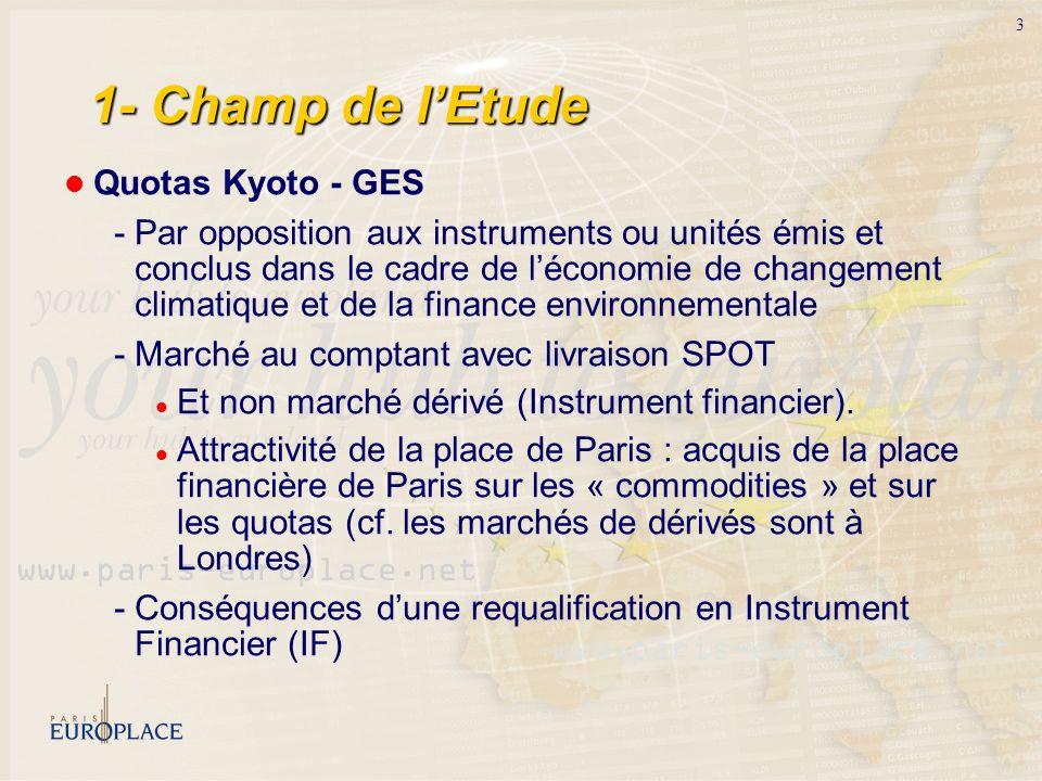 1- Champ de l'EtudeQuotas Kyoto - GES.