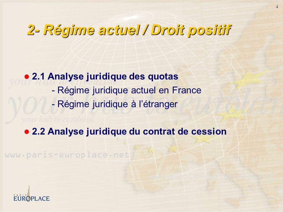 2- Régime actuel / Droit positif