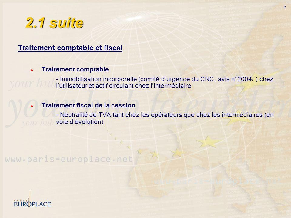 2.1 suite Traitement comptable et fiscal Traitement comptable